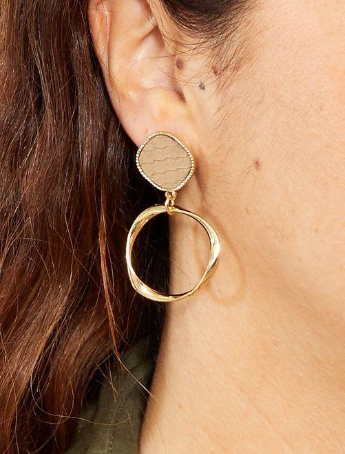 Boucles d'oreilles pendantes                             doré/taupe