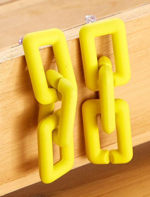 Boucles d'oreilles pendantes effet mat                                                     jaune