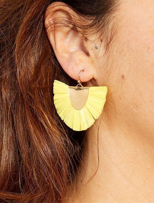 Boucles d'oreilles pendantes en raphia                                                     jaune