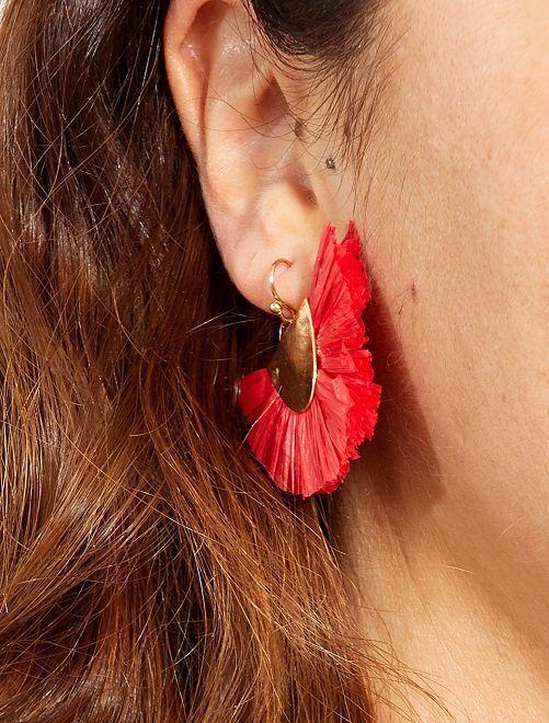 Boucles d'oreilles pendantes en raphia                                                     rose Femme