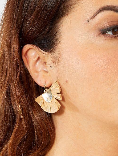 Boucles d'oreilles pendantes en raphia                                                     taupe Femme