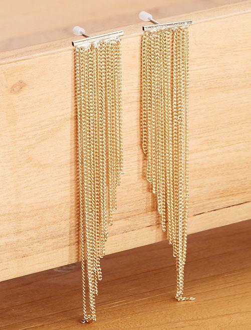 Boucles d'oreilles pendantes multichaînes                             doré