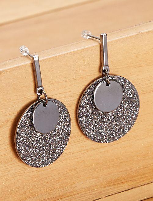 Boucles d'oreilles pendantes                             noir argent
