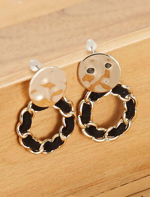 Boucles d'oreilles pendantes                             noir/doré