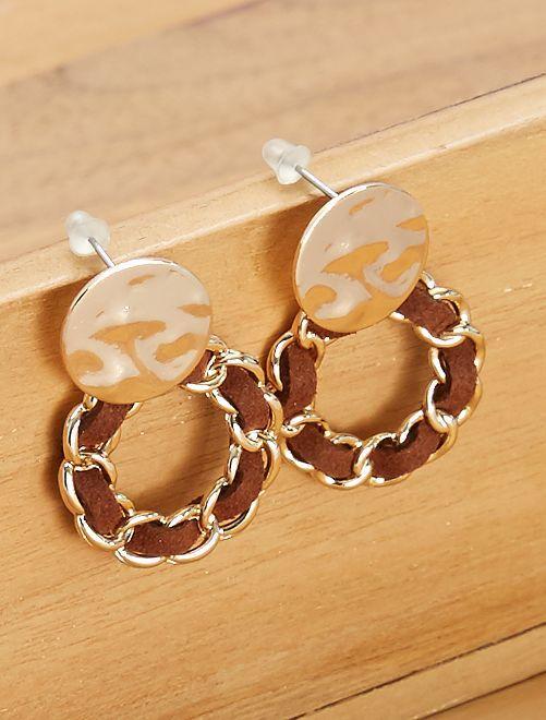 Boucles d'oreilles pendantes                             noir/marron