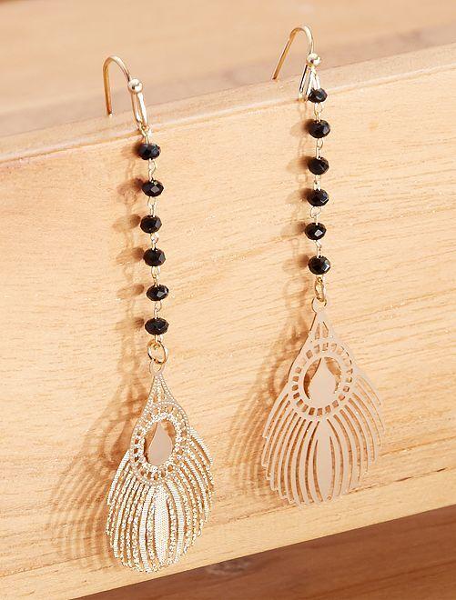 Boucles d'oreilles pendantes 'plume'                             noir/doré