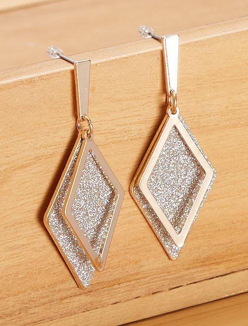 Boucles d'oreilles pendantes triangles                                         doré argenté