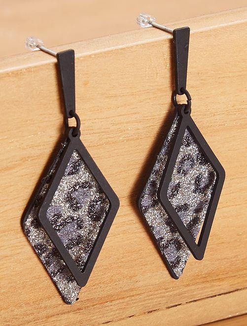 Boucles d'oreilles pendantes triangles                                         noir léopard