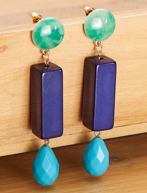 Boucles d'oreilles pendantes tricolores                                         bleu/vert Femme