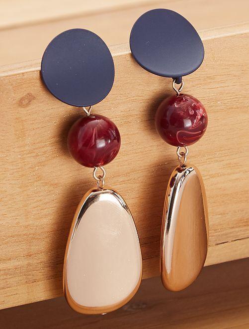 Boucles d'oreilles perles plates                             doré