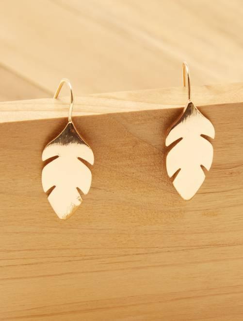 Boucles d'oreilles 'plume'                             doré Femme