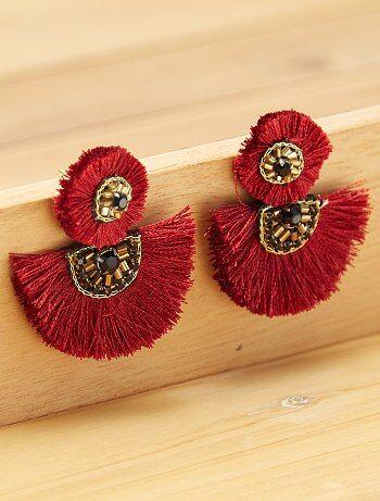 Boucles d'oreilles pompon - Kiabi