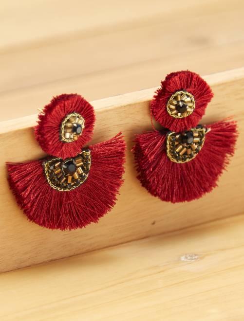 Boucles d'oreilles pompon                             bordeaux Femme