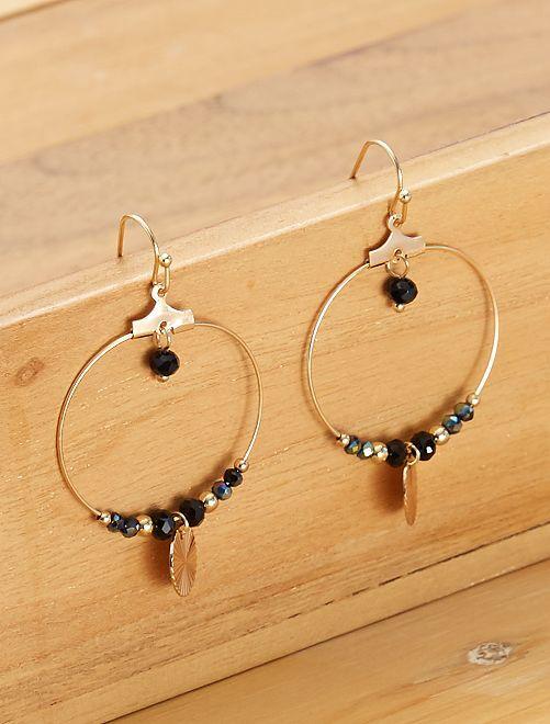 Boucles d'oreilles rondes pendantes                                         noir/doré