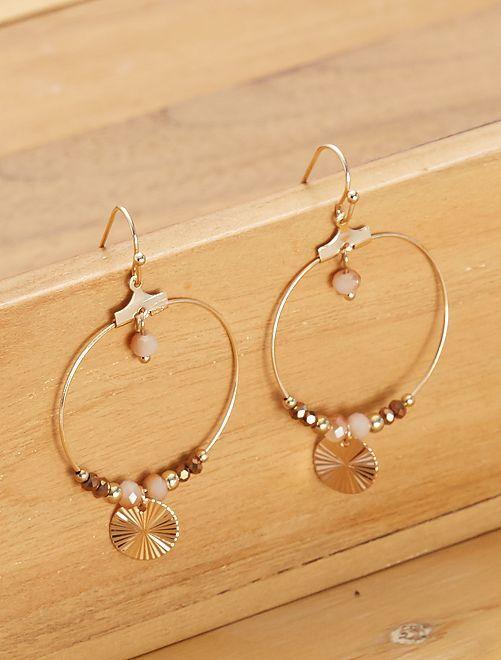 Boucles d'oreilles rondes pendantes                                         noir/marron