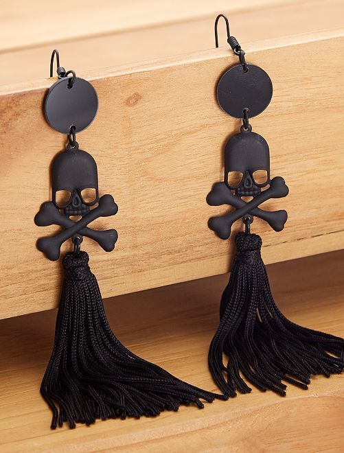 Boucles d'oreilles tête de mort                             noir