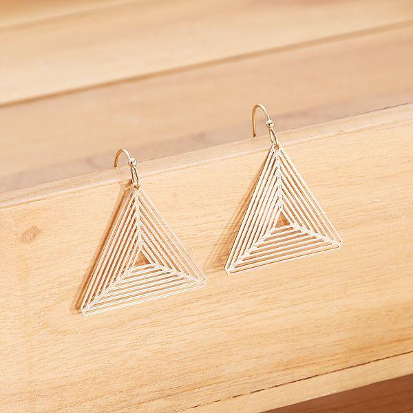 boucle d/'oreille bois triangle triple