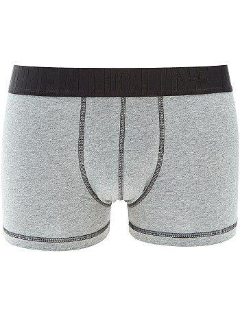 Boxer bicolore en coton stretch - Kiabi