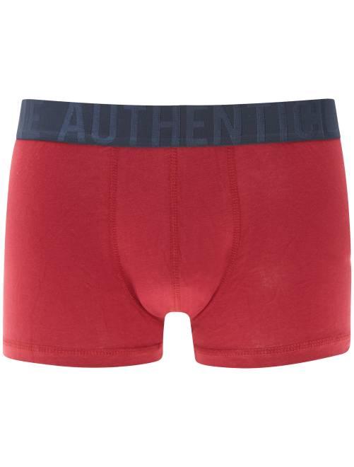 Boxer bicolore en coton stretch                                                                                                                                                                                                                                                                                                     rouge/marine