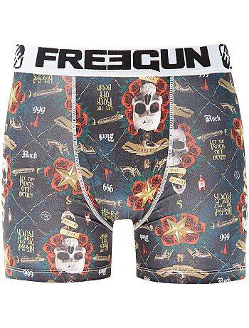 Boxer 'Freegun' 'crânes et roses' - Kiabi