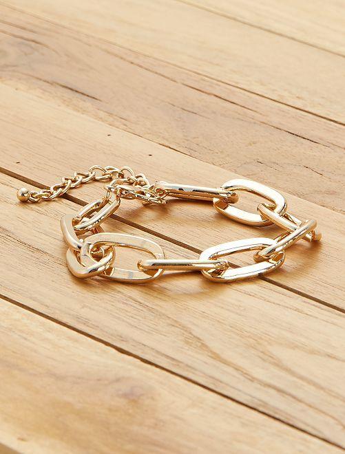 Bracelet à gros maillons                             doré
