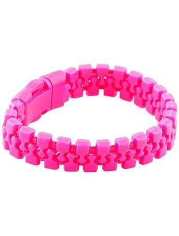On met de la couleur pour faire la fête ! - Bracelet souple effet zip - Ouverture par clip plastique.