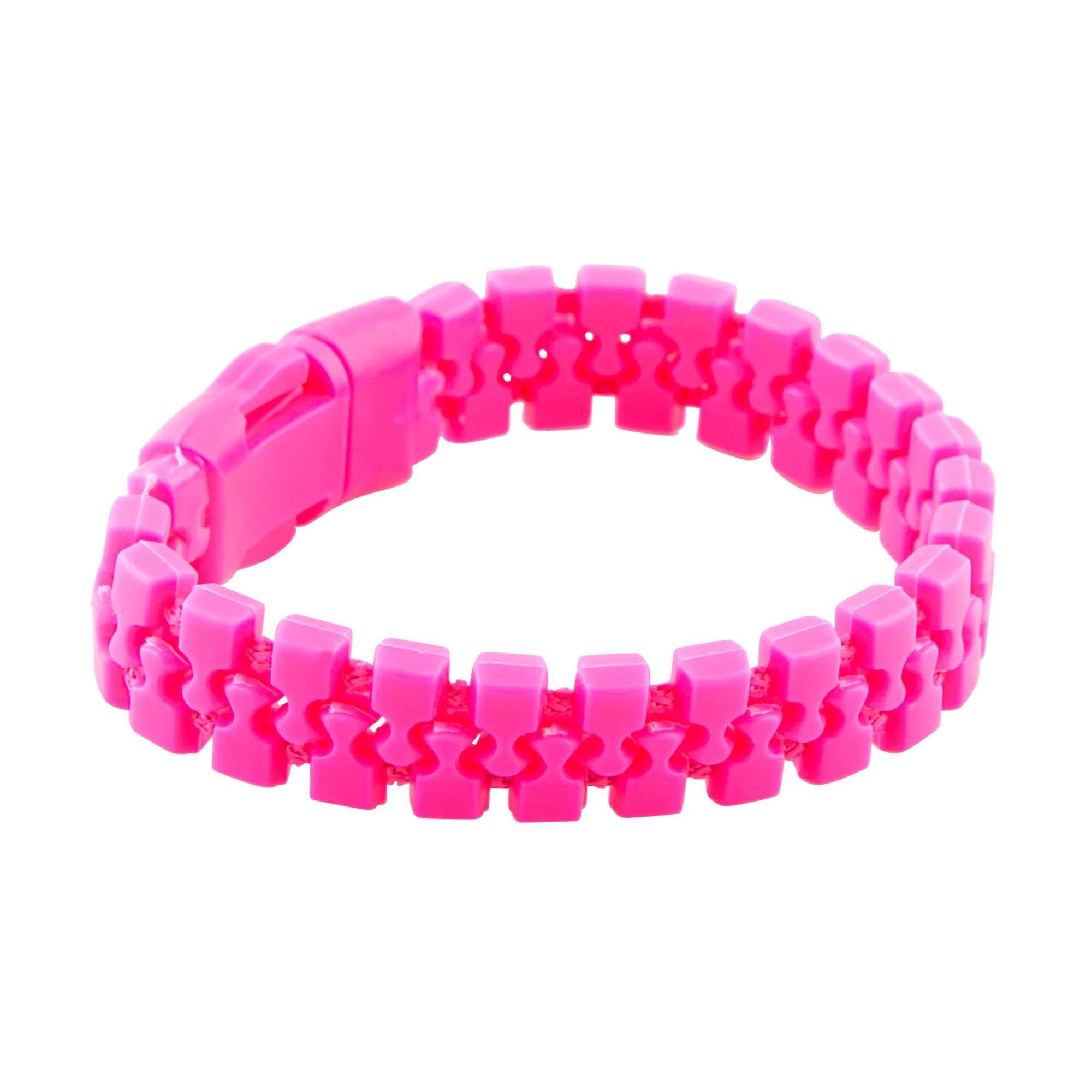 Couleur : rose fluo, , ,, - Taille : TU, , ,,On met de la couleur pour faire la fête ! - Bracelet souple effet zip - Ouverture