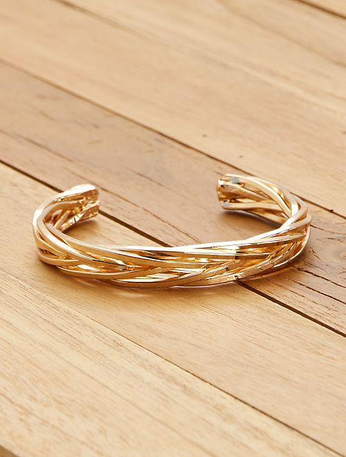 Bracelet jonc tressé                             doré