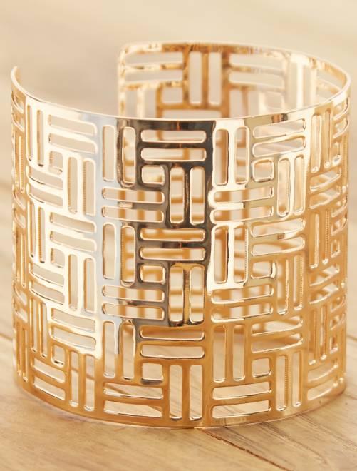 Bracelet manchette ajouré                             doré