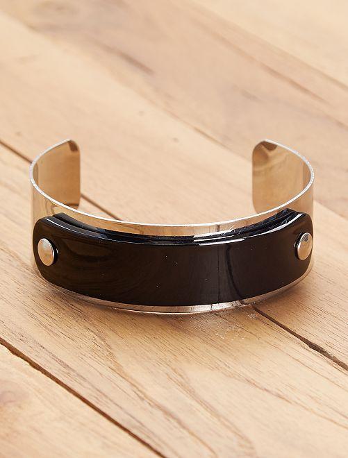 Bracelet manchette 'écaille'                                         noir argent