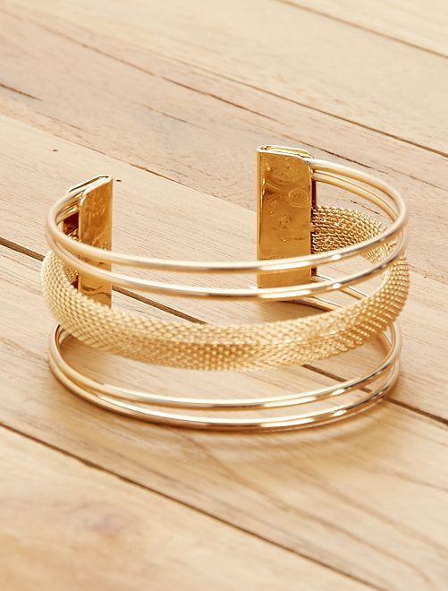 Bracelet manchette multi rangs                                         doré