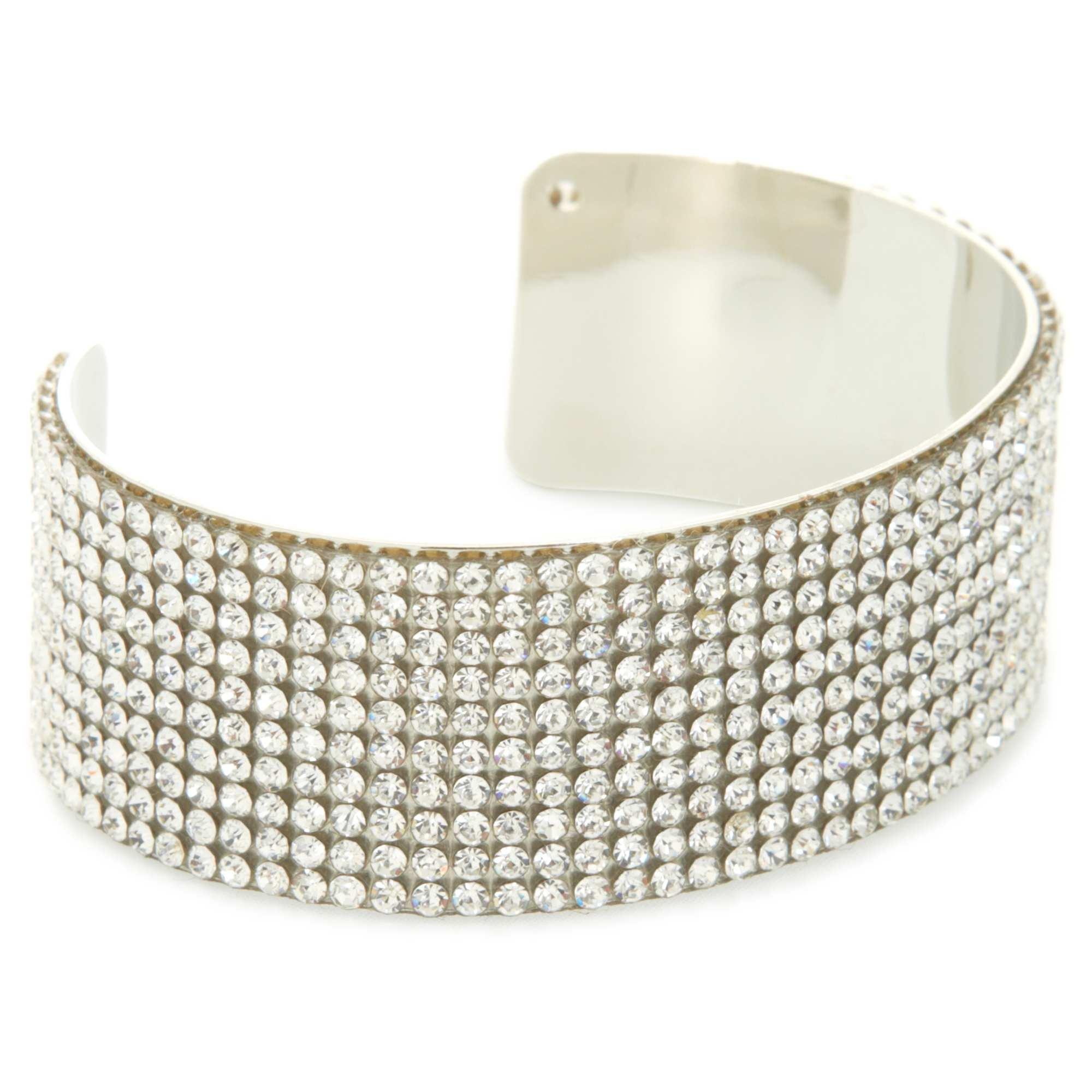 Bracelet rigide à strass argent Femme. Loading zoom