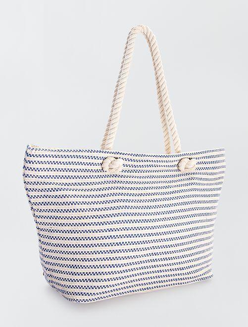 Cabas en tissu et corde                             blanc/bleu