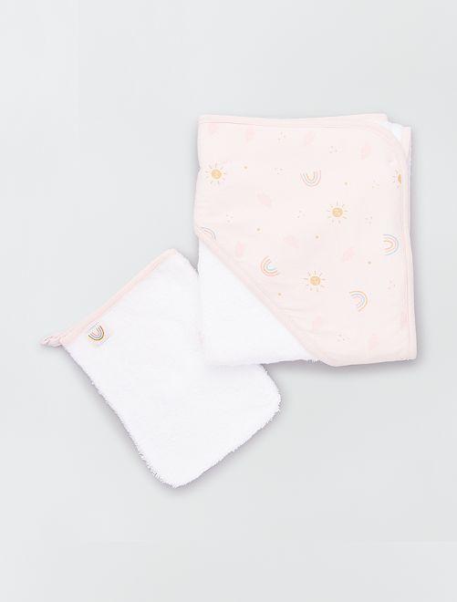 Cape de bain en éponge + gant de toilette                                                                 rose/blanc