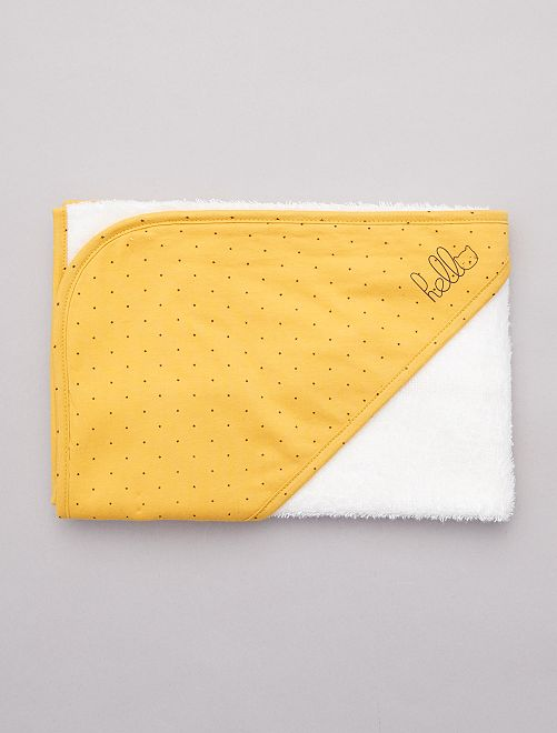 cape de bain ponge 39 toiles 39 coton bio b b fille jaune. Black Bedroom Furniture Sets. Home Design Ideas
