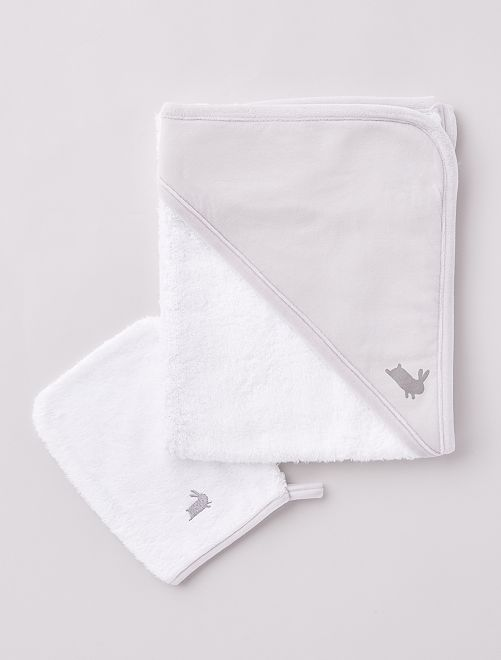 Cape de bain éponge + gant 'lapin'                             gris blanc