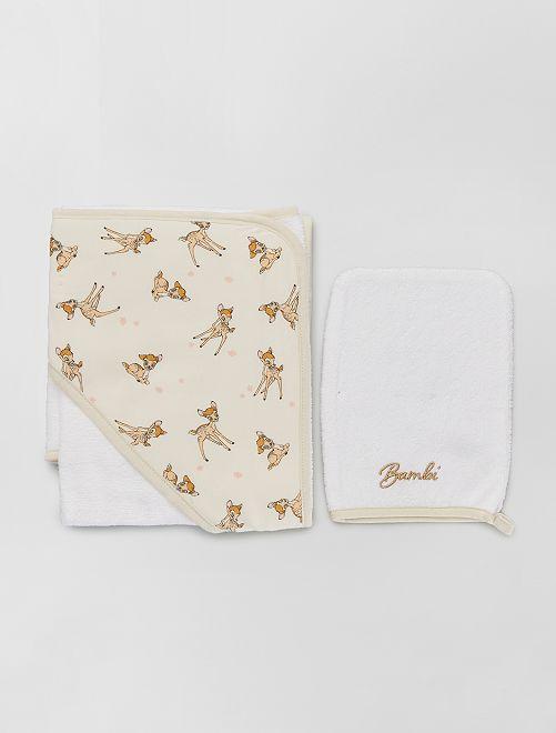 Cape de bain + gant de toilette 'Bambi'                                                     beige bambi