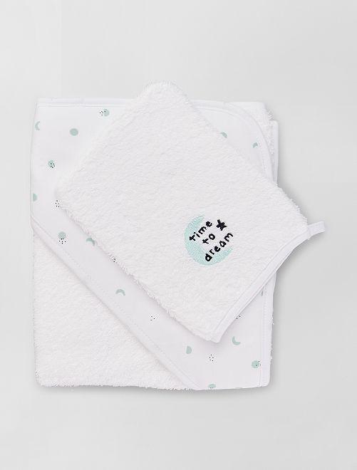 Cape de bain + gant de toilette                                                                                                     blanc