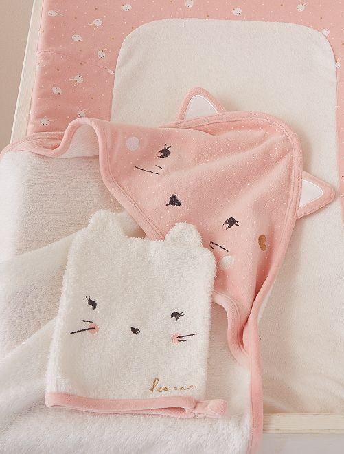 Cape de bain + gant de toilette 'chat'                             écru/rose