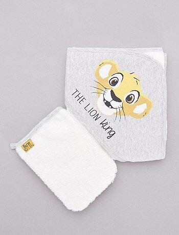Cape de bain + gant de toilette 'Le Roi Lion'