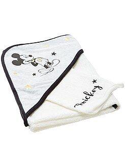 Garçon 0-36 mois Cape de bain + gant en éponge 'Mickey'