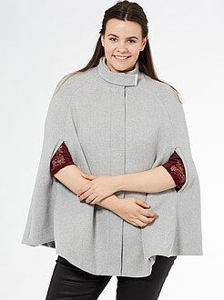 Grande taille femme Cape façon drap de laine à col montant