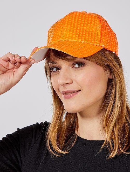 Casquette à sequins fluo                                                                 orange Accessoires