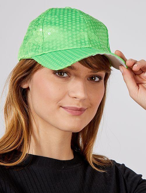 Casquette à sequins fluo                                                                 vert