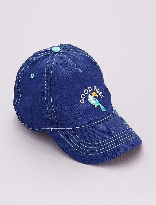 Casquette 'toucan' 'good vibes'                             bleu cobalt