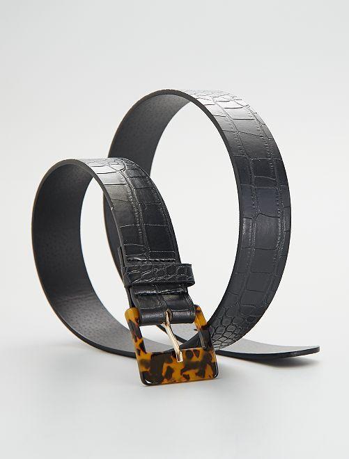 Ceinture à boucle effet écaille                                         noir