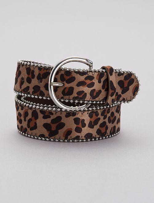Ceinture léopard et détails en métal                             léopard