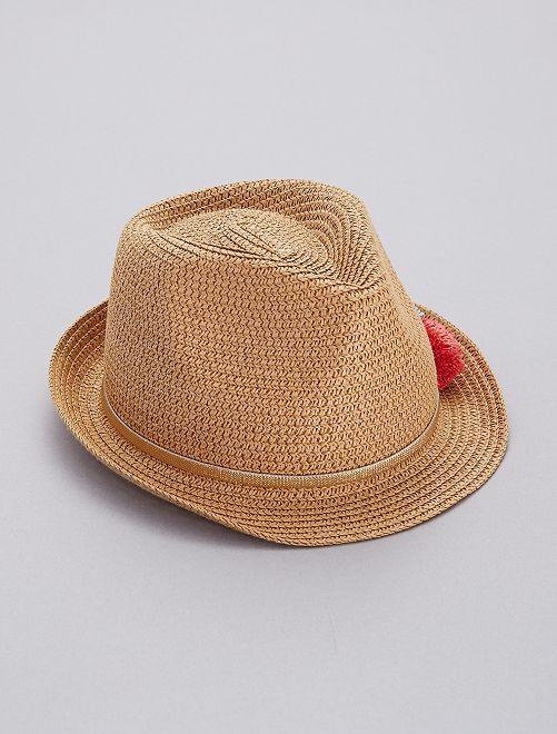 Chapeau borsalino à pompons                             brun Fille