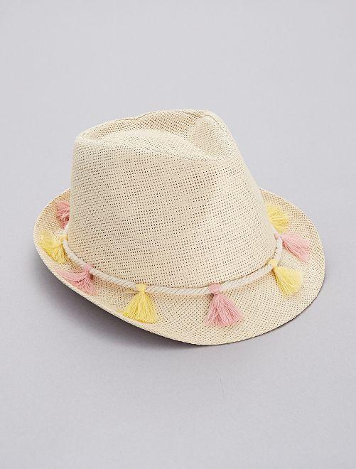 Chapeau borsalino à pompons                             rose