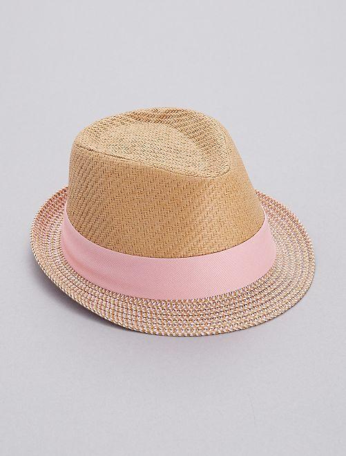 Chapeau borsalino bicolore                             rose